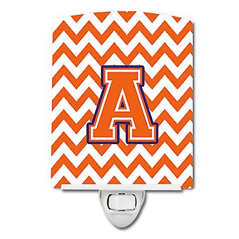 Letter A Chevron Orange and Regalia Ceramic Night Light