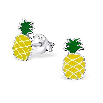Pineapple - 925 Sterling Silver Colourful Ear Studs - W18663x