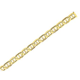 Mens 6.25mm Concave Anchor Chain Bracelet 9 Inches in 14K Yellow Gold