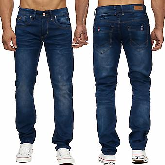 Long men's Jeans men Pant denim quality flag dark blue stonewashed new