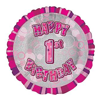Unique Party 18 Inch Circle Pink Happy Birthday Foil Balloon