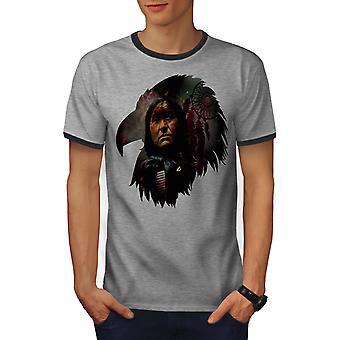 Indian Chief Cool mannen Heather Grey / Heather donkere T-shirt van de GreyRinger | Wellcoda