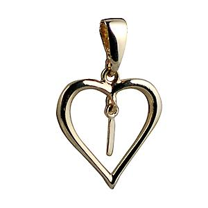 9ct Gold 18x18mm heart Pendant with a hanging Initial I