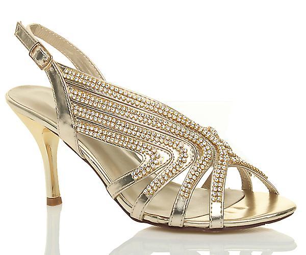 Ajvani womens mid high heel slingback diamante wedding bridal prom sandals shoes