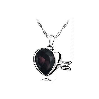 Womens Dark Purple Gemstone Chain Crystal Heart Necklace Pendant Jewelry