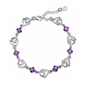 Mujeres pulsera de plata amistad Color púrpura del corazón