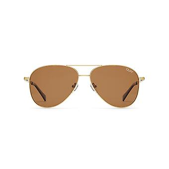 Quay Australia Still Standing Matte Gold Sunglasses With Brown Flash Lens