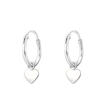 Hanging Heart - 925 Sterling Silver Ear Hoops - W35539x