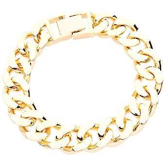 Iced Out BOLD MASSIV Hip Hop Armband - CURB 14mm gold
