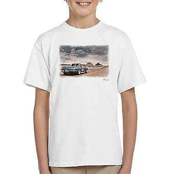 Chevrolet Corvette Stingray Convertible Desert Drive White Kid's T-Shirt