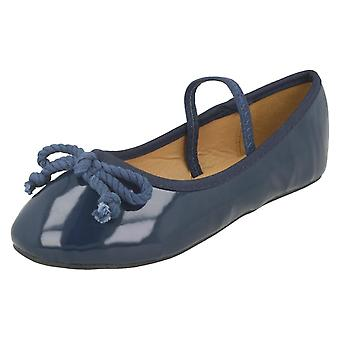 Girls Spot On Elastic Bar Ballerinas H2429 - Navy Synthetic Patent - UK Size 13 Kids - EU Size 32 - US Size 1