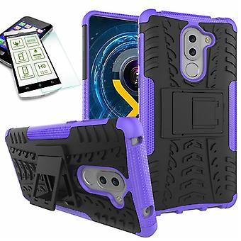 Hybrid case of 2 piece purple for Huawei honor 6 X + tempered glass bag case cover