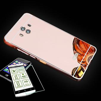 Alu Bumper 2 teilig Pink + 0,3 H9 Hartglas für Huawei Mate 10 Tasche Hülle Neu
