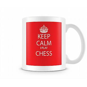 Mantener la calma hacer taza impresa de ajedrez