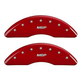 MGP Caliper Covers 15211SMGPRD 'MGP' Engraved Caliper Cover with Red Powder Coat Finish and Silver Characters, (Set of 4