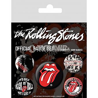 Rolling Stones Pack Of 5 Pin Badges