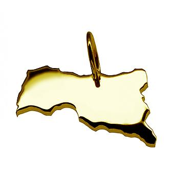 Trailer map Central African Republic pendant in solid 585 gold