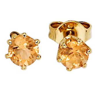 Citrine earrings boutons 585 Gold Yellow Gold 2 yellow citrine earrings gold gemstone earrings