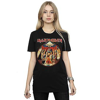 Iron Maiden Women's Powerslave Lightning Circle Boyfriend Fit T-Shirt