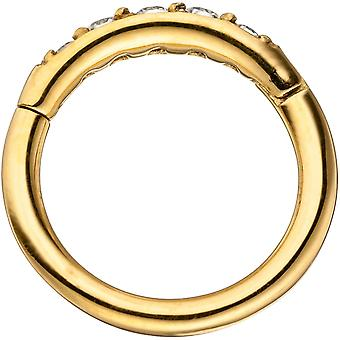 Segment ring stainless steel gold color coated with Swarovski element hinge