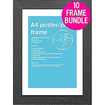 GB Posters 10 Black A4 MDF Poster Frames 29.7 x 21cm Bundle