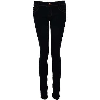 Ladies Dark Denim Studded Diamante Bow Pockets Women's Skinny Slim Fit Jeans