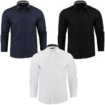 Brave Soul Mens Tudor Plain Formal Slim Fit Long Sleeve Buttoned Down Shirt Top