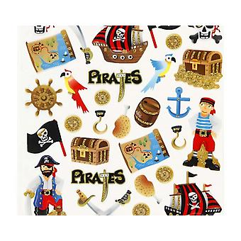 Paper Pirate Stickers with Gold Glitter for Kids | Childrens Craft Stickers