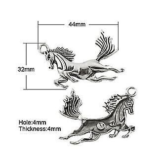 Pakiet 4 x antyczne srebro tybetańskie 43mm koń urok/wisiorek ZX01930