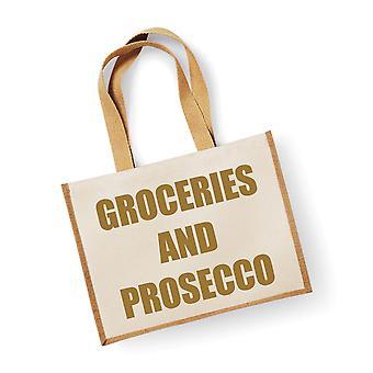 Large Jute Bag Groceries And Prosecco Natural Bag