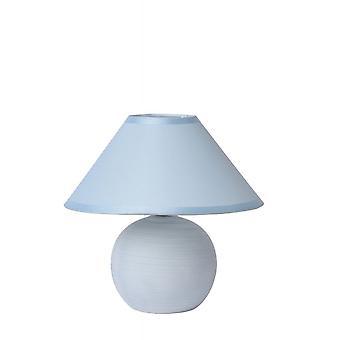 Lucide Faro Retro Round Ceramics Blue Table Lamp