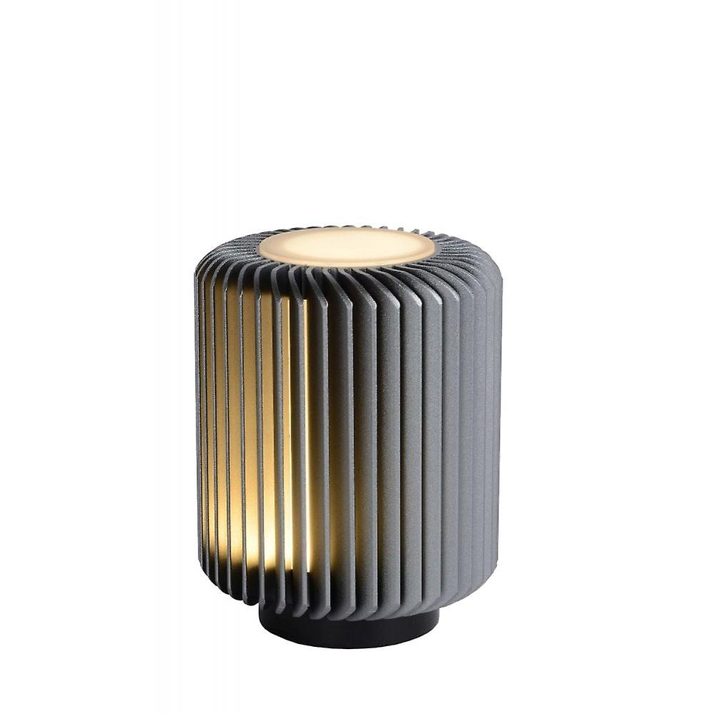 Lucide Turbin Modern Cylinder Aluminum gris Table Lamp