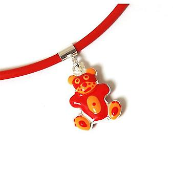 TOC Girls Sterling Silver Orange/Red Teddy Bear Pendant Necklace 16