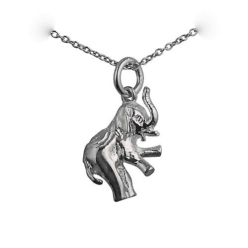 Silver 18x9mm solid Elephant Pendant with a rolo chain