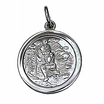 9ct White Gold 20mm round St Christopher Pendant