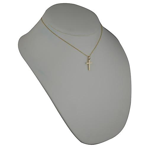 9ct Gold 20x13mm plain solid block Cross with a cable Chain 16 inches Only Suitable for Children