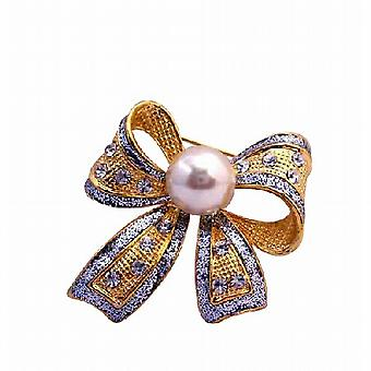 Golden Casting Shiny Bow Brooch Pin in White Cultured Pearl & Crystals