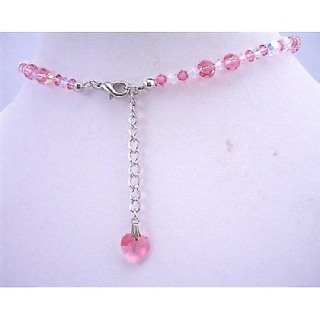 Rose Swarovski Crystals AB w/ Crystals Heart Back Dangle Drop Necklace