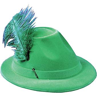 Hat Alpine Grn W/Feather For All