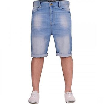 Crosshatch Mens Light Blue Denim Jean Short Roll Up Spring Summer Shorts
