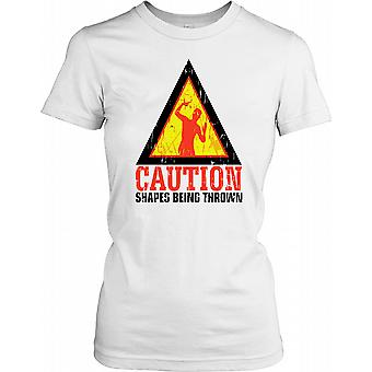 Caution Shapes Being Thrown - funny Ladies T Shirt