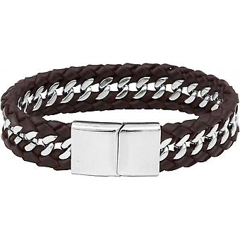 Clio Blue BR2169S-BROWN - Bracelet steel brown leather man bracelet