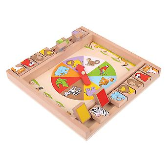 Bigjigs Toys Wooden Traditional Animal Shut The Box Game Play Set