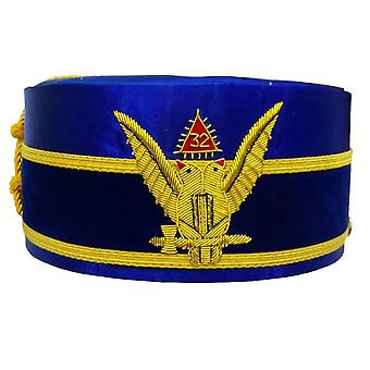 32nd Degree Scottish Rite Wings UP Blue Cap Bullion Hand Embroidery