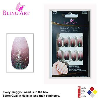 False nails by bling art red brown gel ombre ballerina coffin long fake tips