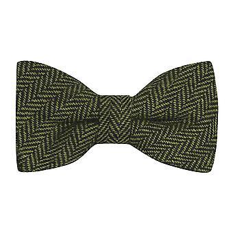 Pickle Green & Black Herringbone Bow Tie