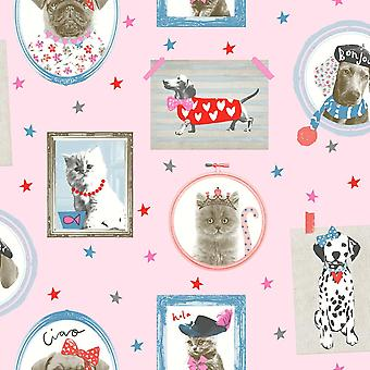 Arthouse Hall Of Fame Bildrahmen Muster Tier Katze Hund Glitter Wallpaper 668401