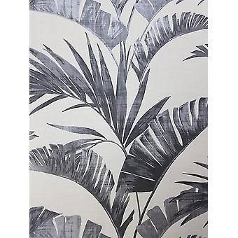 Banana Palm Leaf Fond d'écran Charcoal Off White Grey Metallic Paste Wall Arthouse