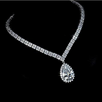 Bridal Collection - Four Leaf Clover Pear Cut Swiss Cubic Zirconia Wedding Necklace