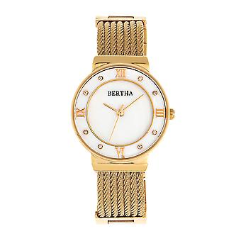 Bertha Dawn Mother-of-Pearl Cable Bracelet Watch - Gold